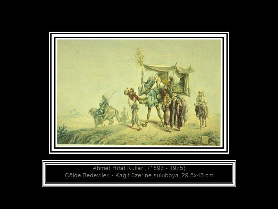 Ahmet Rıfat Kulları, (1893 - 1975) Çölde Bedeviler, - Kağıt üzerine suluboya, 29.5x46 cm