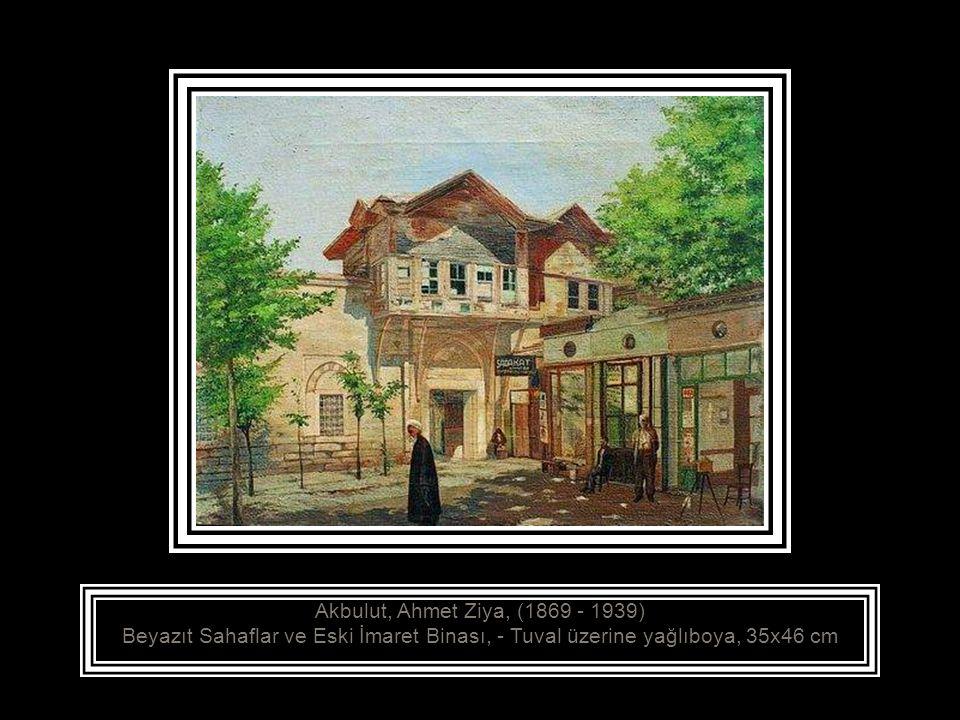 Akbulut, Ahmet Ziya, (1869 - 1939) Beyazıt Sahaflar ve Eski İmaret Binası, - Tuval üzerine yağlıboya, 35x46 cm