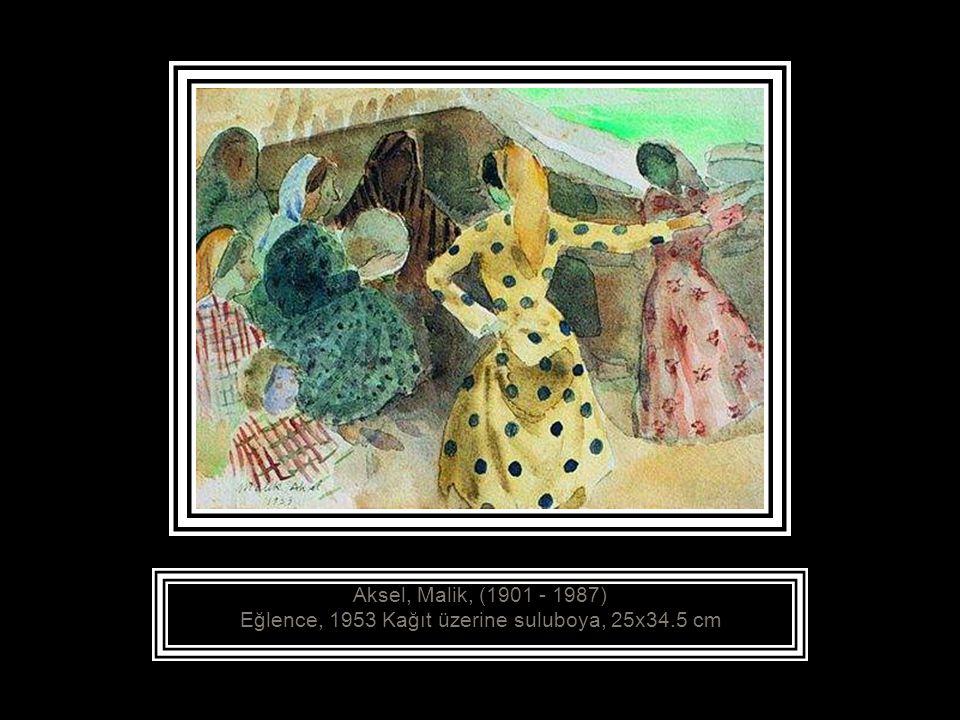 Aksel, Malik, (1901 - 1987) Eğlence, 1953 Kağıt üzerine suluboya, 25x34.5 cm