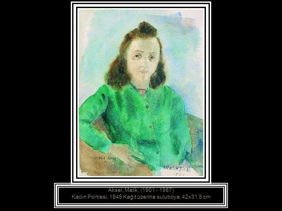 Aksel, Malik, (1901 - 1987) Kadın Portresi, 1945 Kağıt üzerine suluboya, 42x31.5 cm