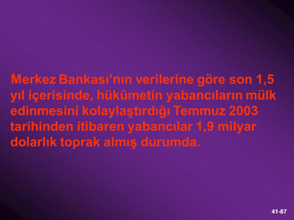 Merkez Bankası'nın verilerine göre son 1,5 yıl içerisinde, hükûmetin yabancıların mülk edinmesini kolaylaştırdığı Temmuz 2003 tarihinden itibaren yabancılar 1,9 milyar dolarlık toprak almış durumda.
