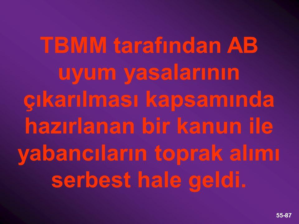 TBMM tarafından AB uyum yasalarının çıkarılması kapsamında hazırlanan bir kanun ile yabancıların toprak alımı serbest hale geldi.