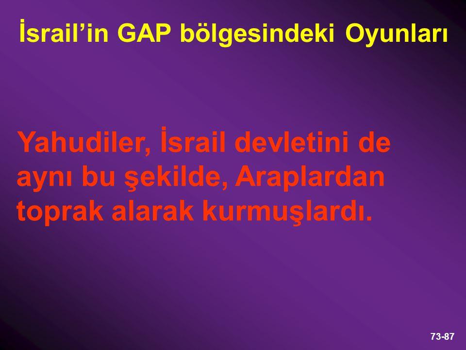 İsrail'in GAP bölgesindeki Oyunları