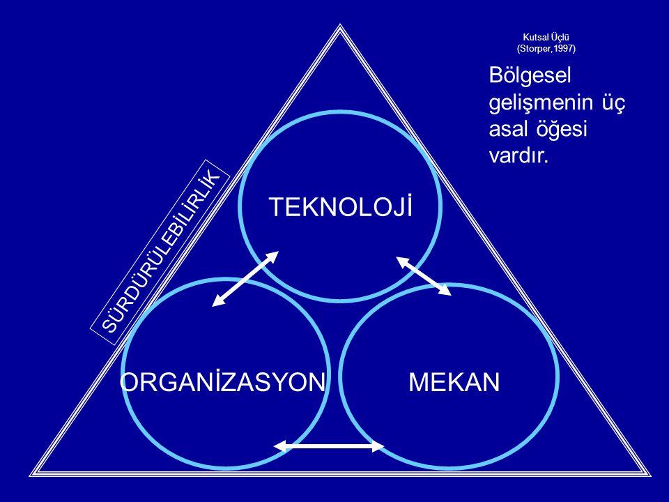 TEKNOLOJİ ORGANİZASYON MEKAN Bölgesel gelişmenin üç asal öğesi vardır.