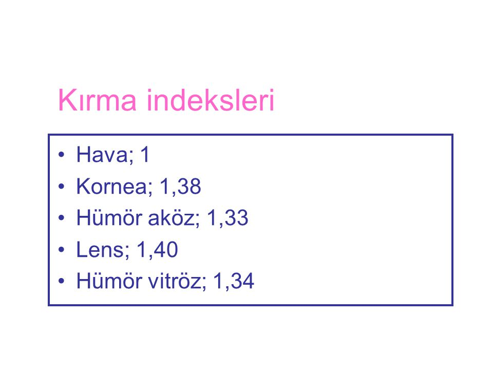 Kırma indeksleri Hava; 1 Kornea; 1,38 Hümör aköz; 1,33 Lens; 1,40