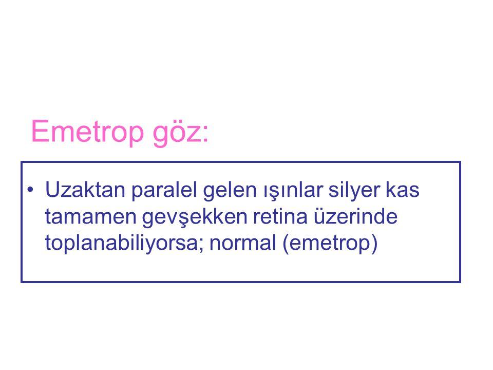 Emetrop göz: Uzaktan paralel gelen ışınlar silyer kas tamamen gevşekken retina üzerinde toplanabiliyorsa; normal (emetrop)