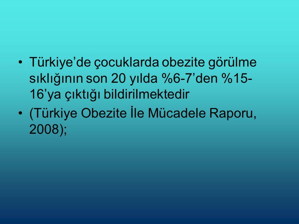 Türkiye'de çocuklarda obezite görülme sıklığının son 20 yılda %6-7'den %15-16'ya çıktığı bildirilmektedir