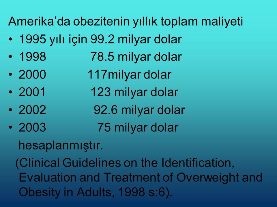 Amerika'da obezitenin yıllık toplam maliyeti