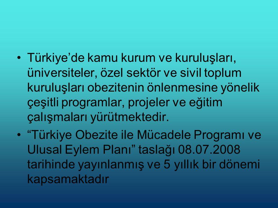 Türkiye'de kamu kurum ve kuruluşları, üniversiteler, özel sektör ve sivil toplum kuruluşları obezitenin önlenmesine yönelik çeşitli programlar, projeler ve eğitim çalışmaları yürütmektedir.