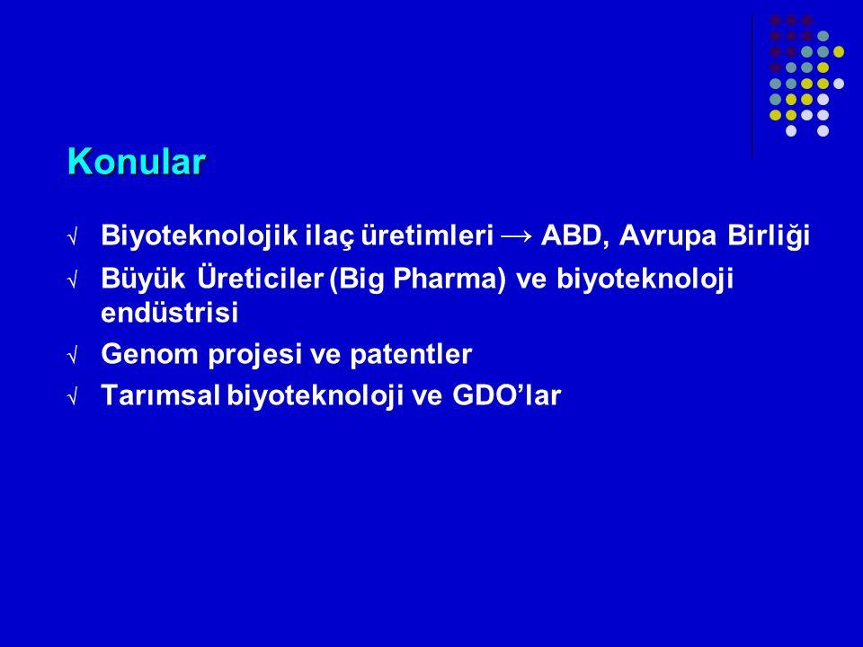 Konular Biyoteknolojik ilaç üretimleri → ABD, Avrupa Birliği