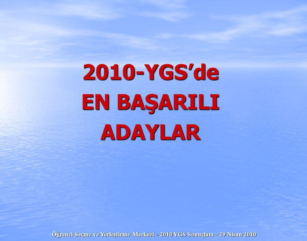 2010-YGS'de EN BAŞARILI ADAYLAR