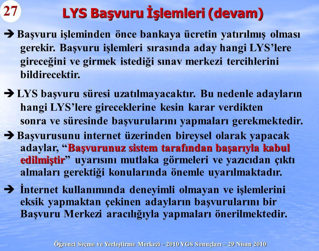 LYS Başvuru İşlemleri (devam)