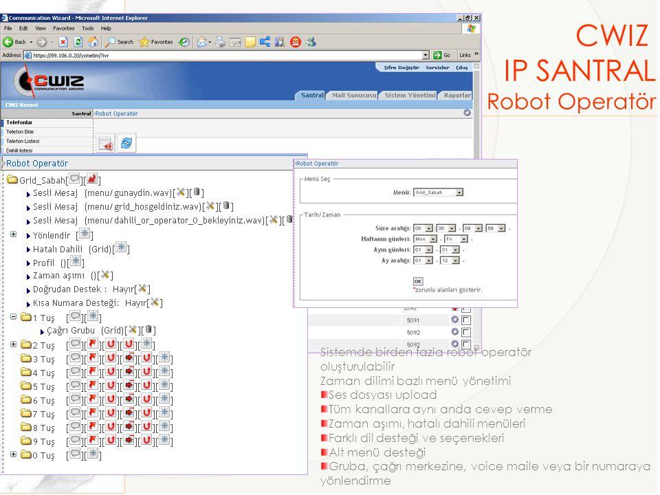 CWIZ IP SANTRAL Robot Operatör Sistemde birden fazla robot operatör