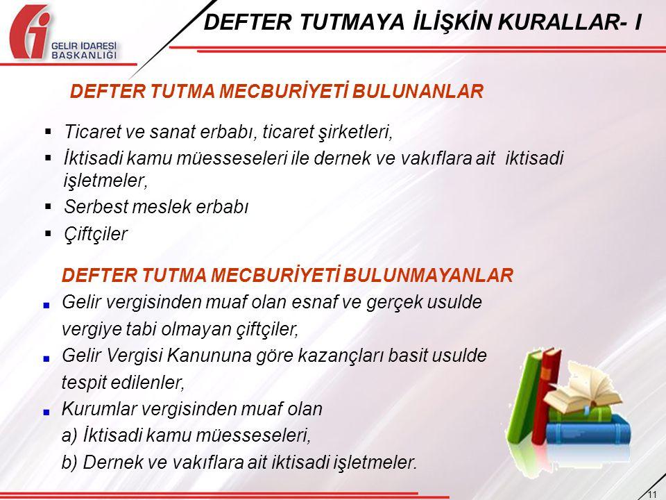 DEFTER TUTMAYA İLİŞKİN KURALLAR- I