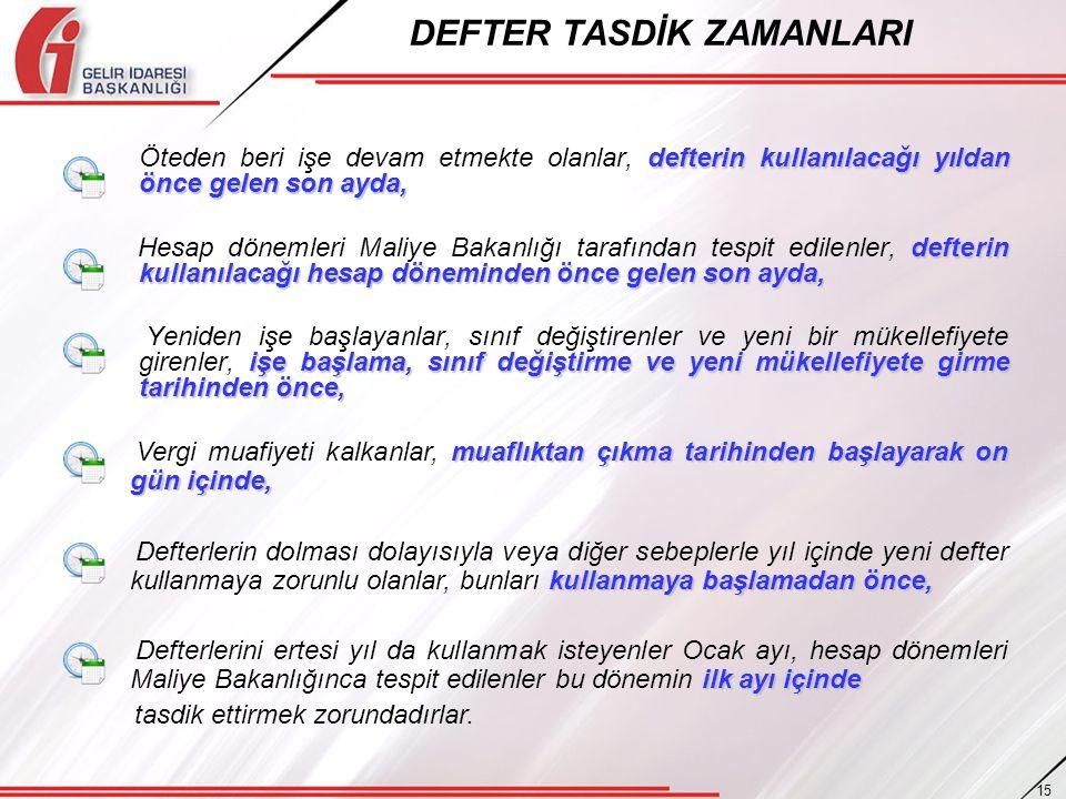 DEFTER TASDİK ZAMANLARI