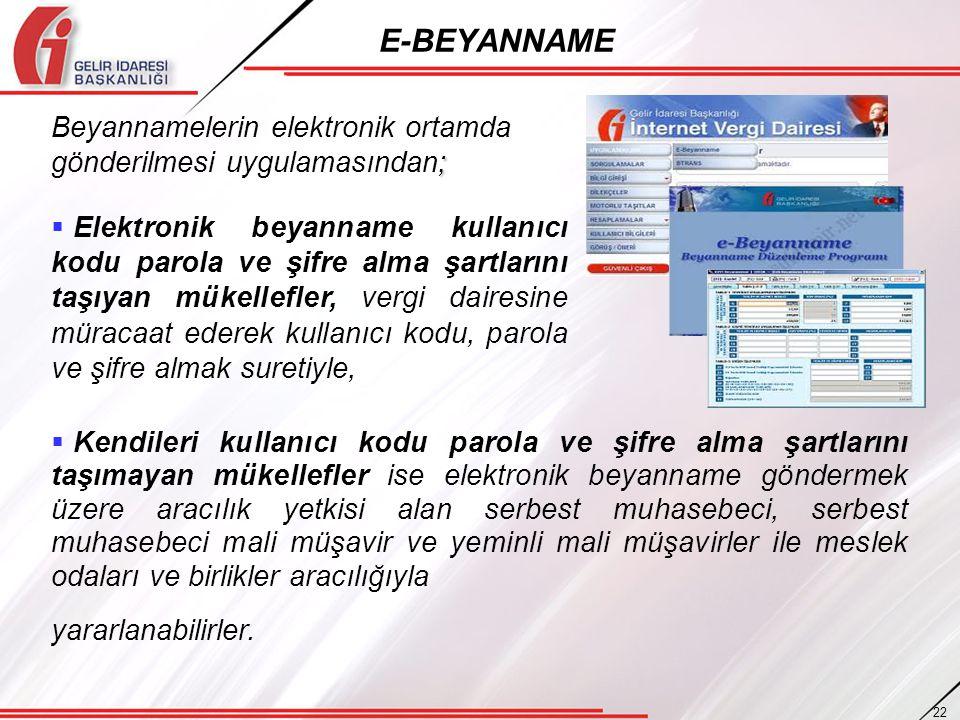 E-BEYANNAME Beyannamelerin elektronik ortamda gönderilmesi uygulamasından;