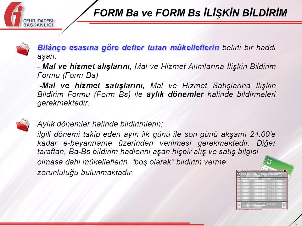FORM Ba ve FORM Bs İLİŞKİN BİLDİRİM
