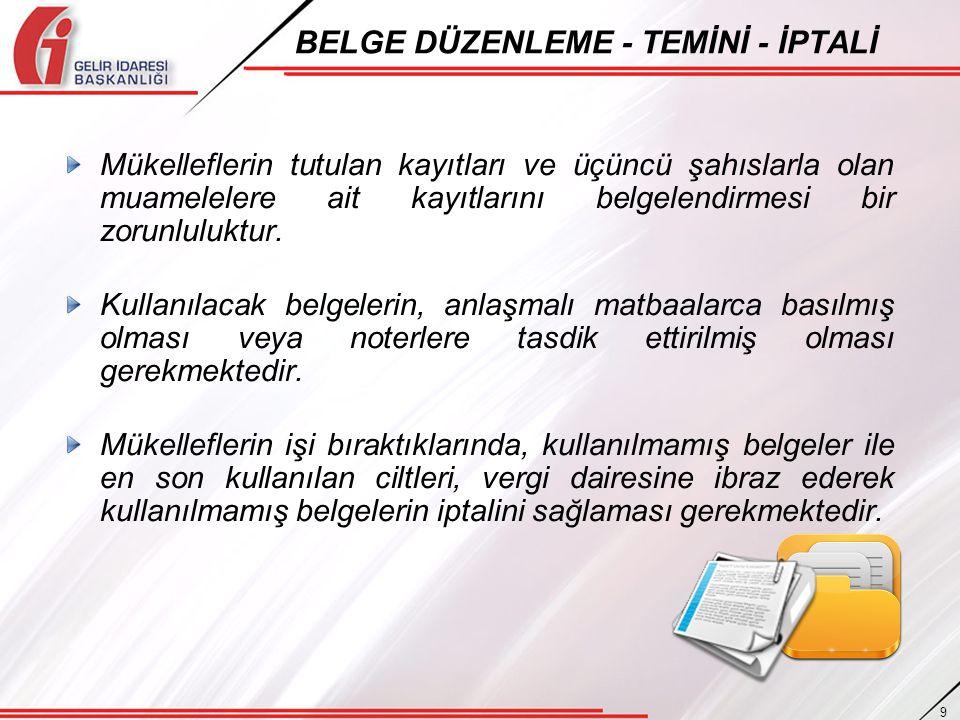 BELGE DÜZENLEME - TEMİNİ - İPTALİ
