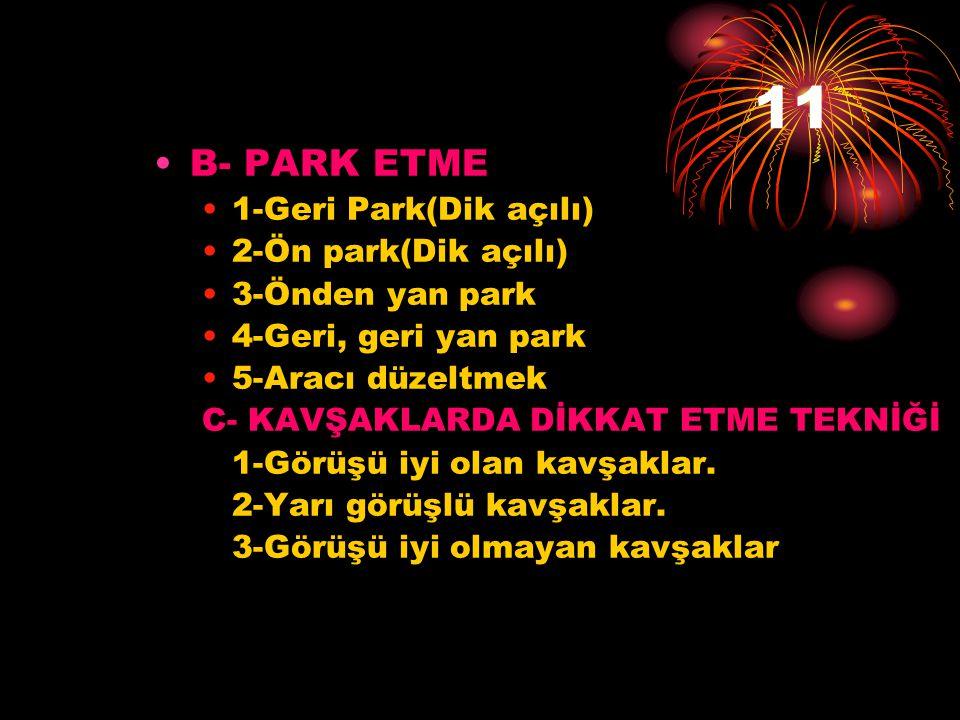 11 B- PARK ETME 1-Geri Park(Dik açılı) 2-Ön park(Dik açılı)