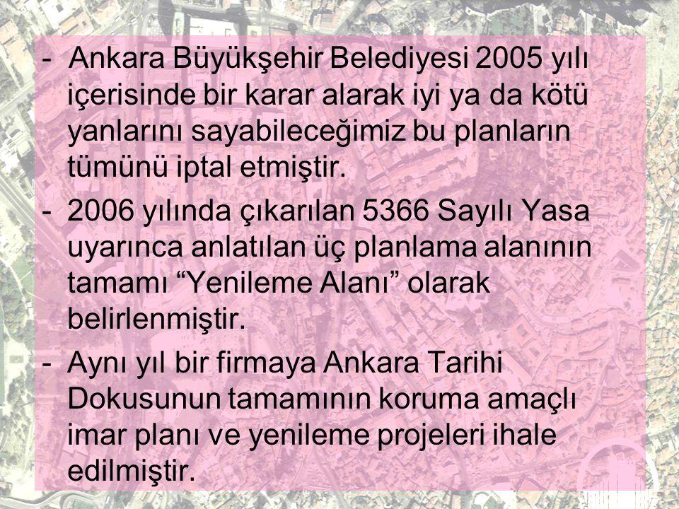 - Ankara Büyükşehir Belediyesi 2005 yılı içerisinde bir karar alarak iyi ya da kötü yanlarını sayabileceğimiz bu planların tümünü iptal etmiştir.