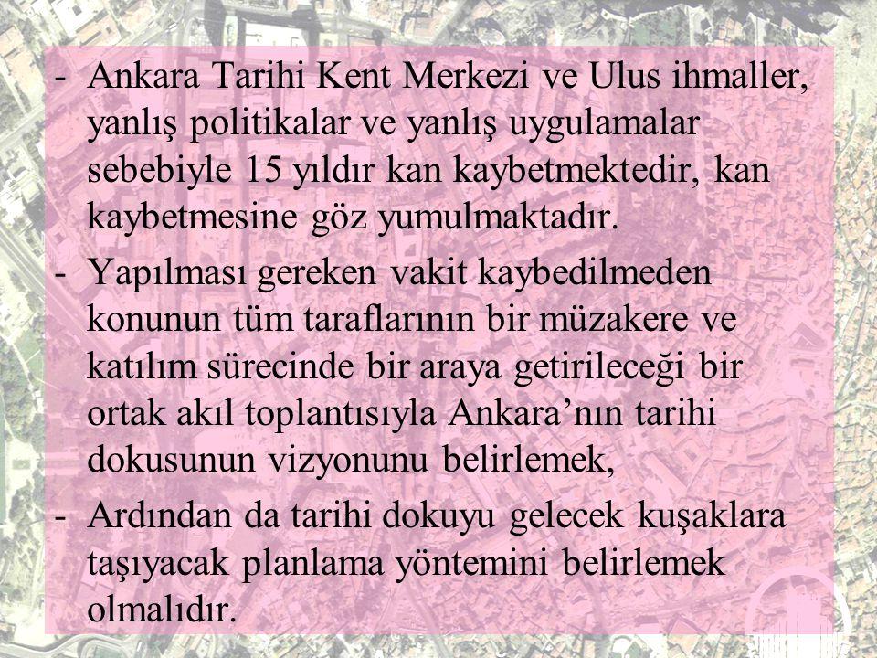 Ankara Tarihi Kent Merkezi ve Ulus ihmaller, yanlış politikalar ve yanlış uygulamalar sebebiyle 15 yıldır kan kaybetmektedir, kan kaybetmesine göz yumulmaktadır.