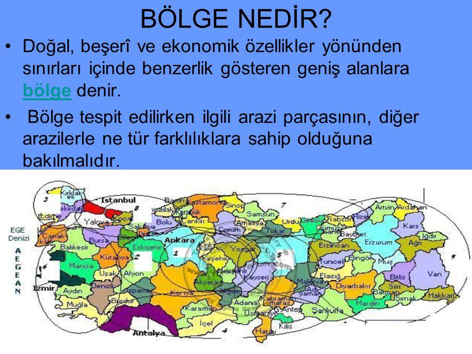 BÖLGE NEDİR Doğal, beşerî ve ekonomik özellikler yönünden sınırları içinde benzerlik gösteren geniş alanlara bölge denir.
