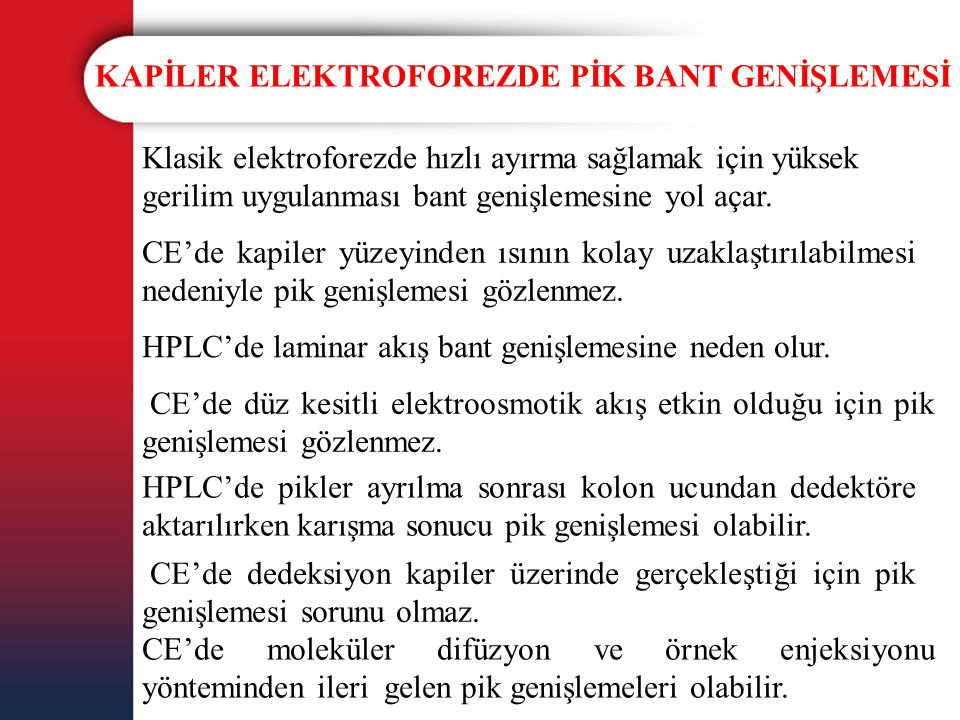 KAPİLER ELEKTROFOREZDE PİK BANT GENİŞLEMESİ