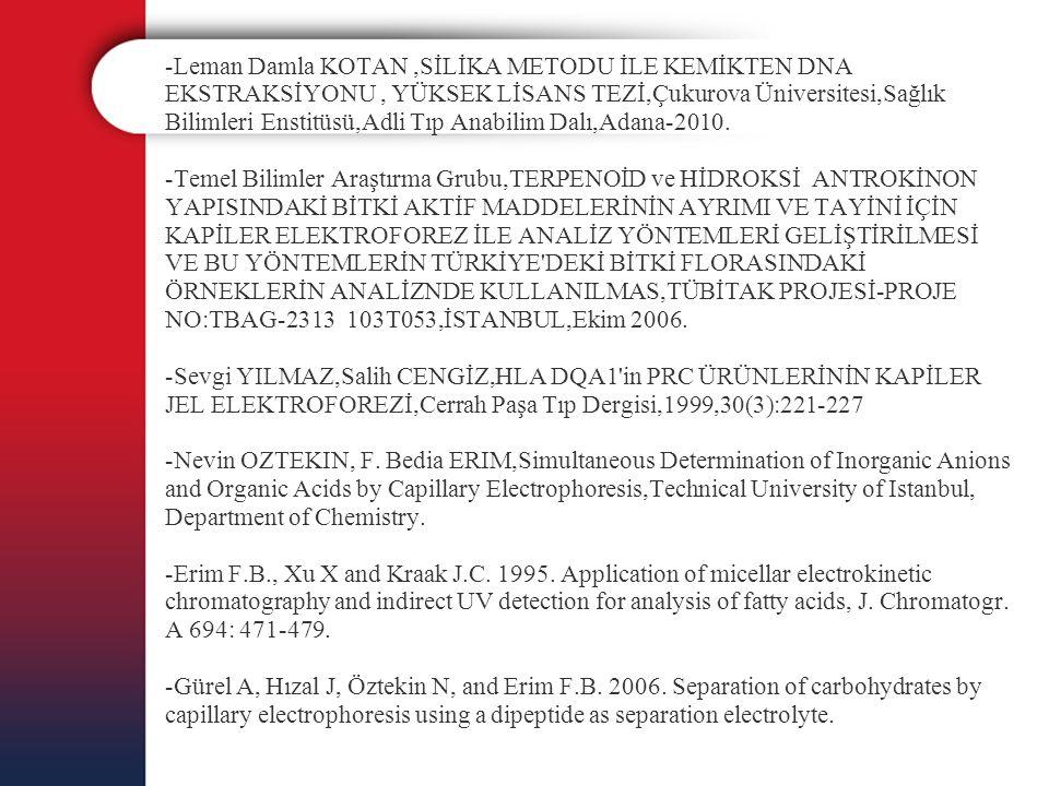 -Leman Damla KOTAN ,SİLİKA METODU İLE KEMİKTEN DNA EKSTRAKSİYONU , YÜKSEK LİSANS TEZİ,Çukurova Üniversitesi,Sağlık Bilimleri Enstitüsü,Adli Tıp Anabilim Dalı,Adana-2010.