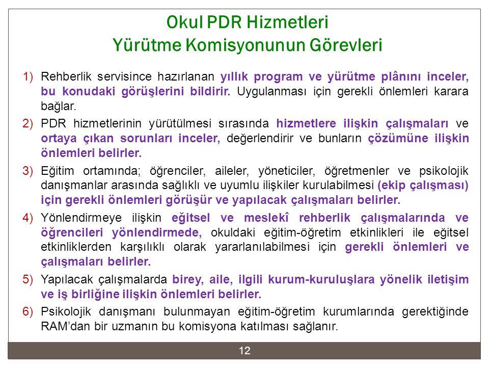 Okul PDR Hizmetleri Yürütme Komisyonunun Görevleri