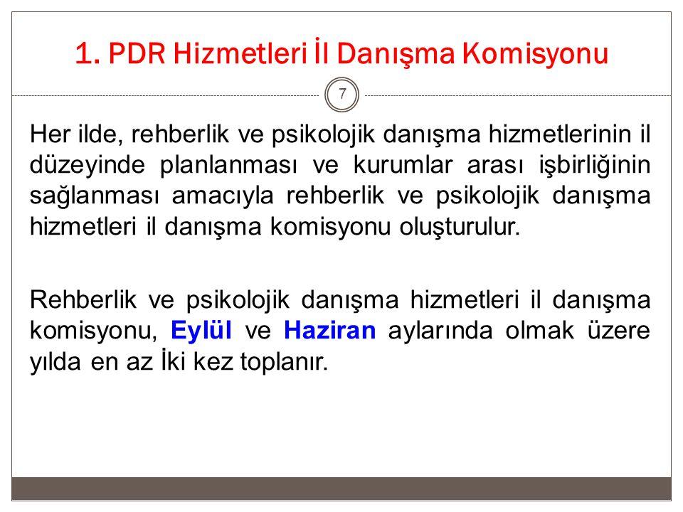 1. PDR Hizmetleri İl Danışma Komisyonu