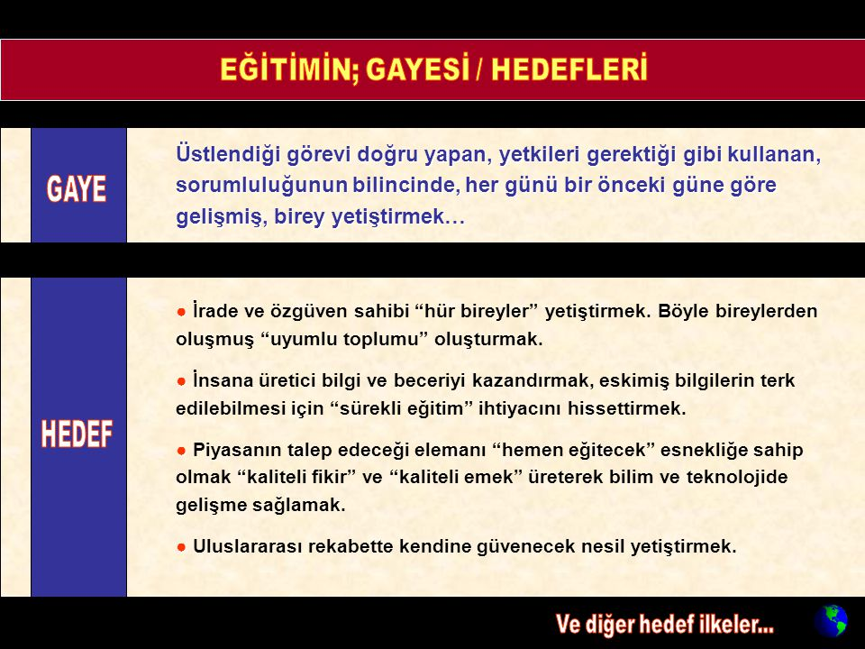 EĞİTİMİN; GAYESİ / HEDEFLERİ