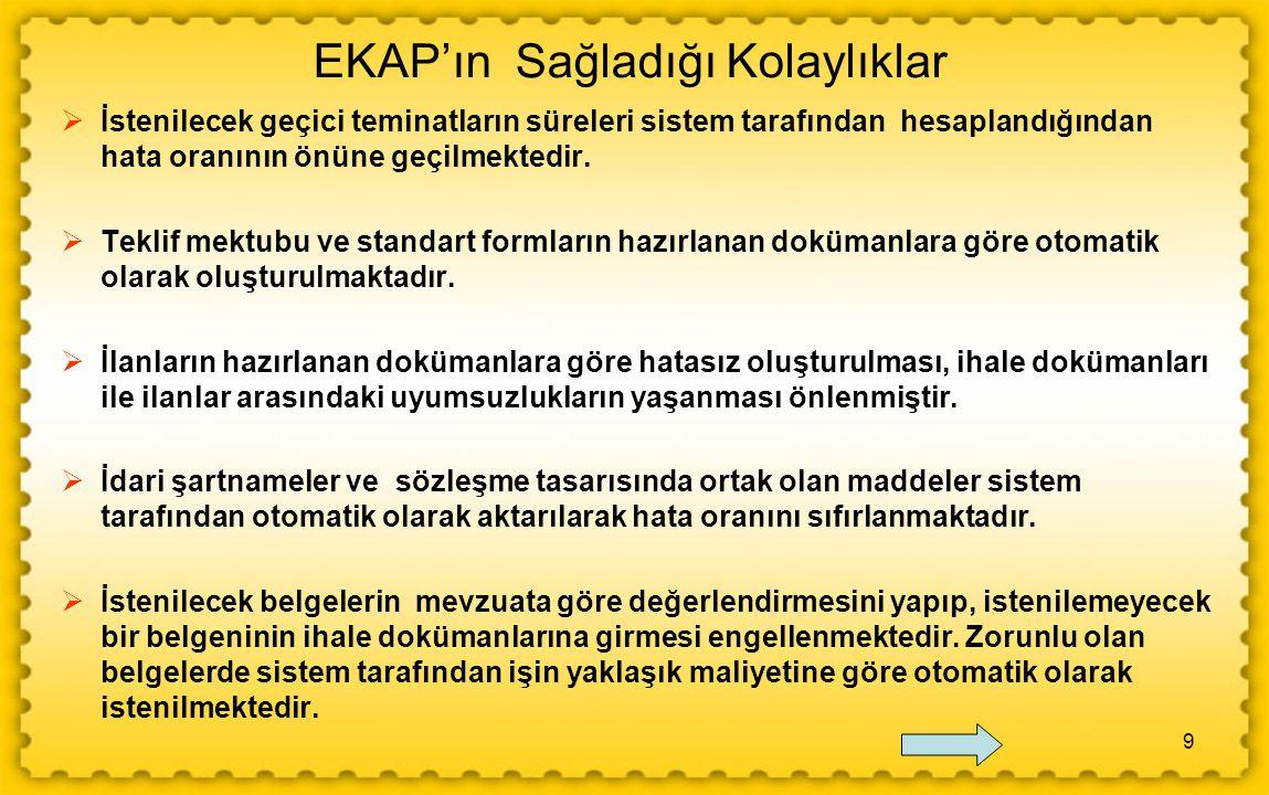 EKAP'ın Sağladığı Kolaylıklar
