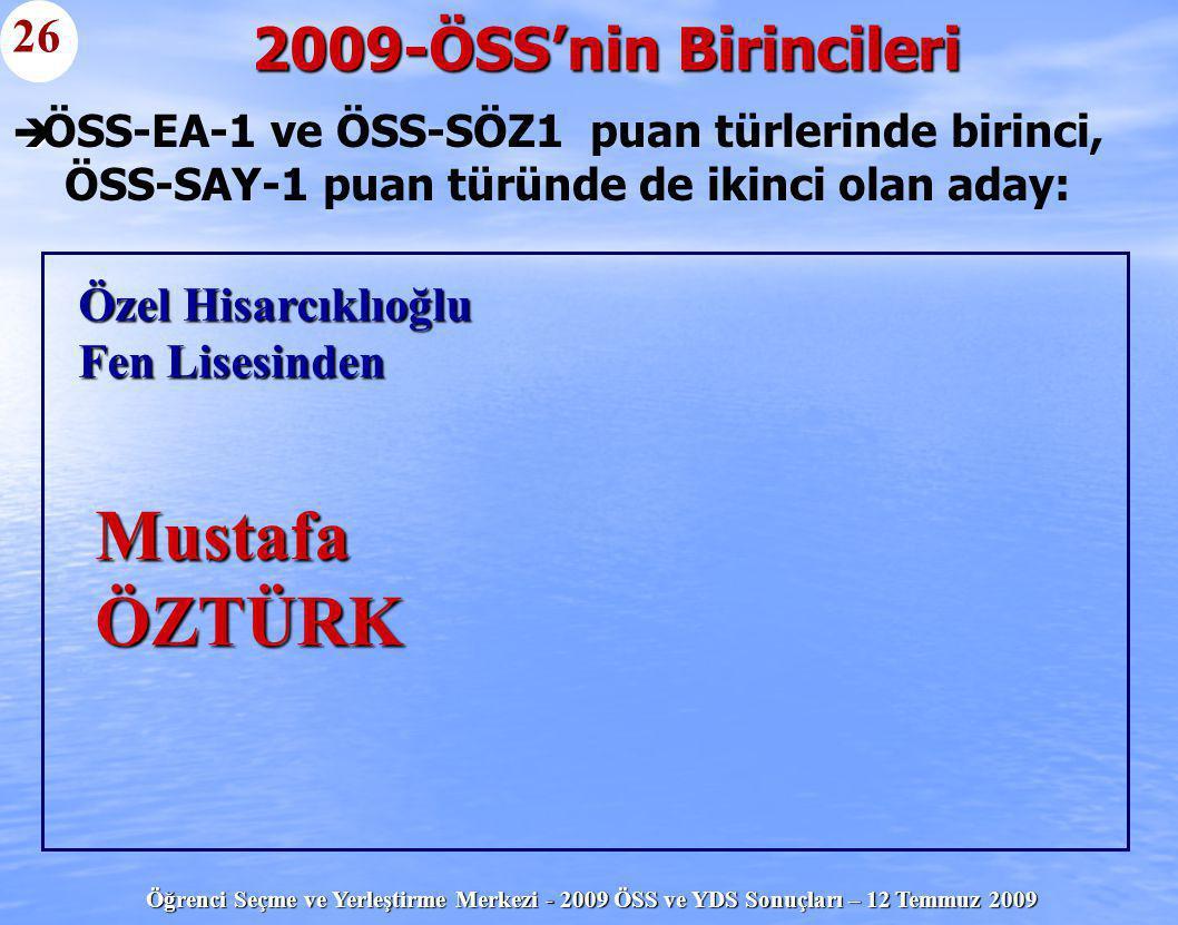 Mustafa ÖZTÜRK 2009-ÖSS'nin Birincileri 26 Özel Hisarcıklıoğlu