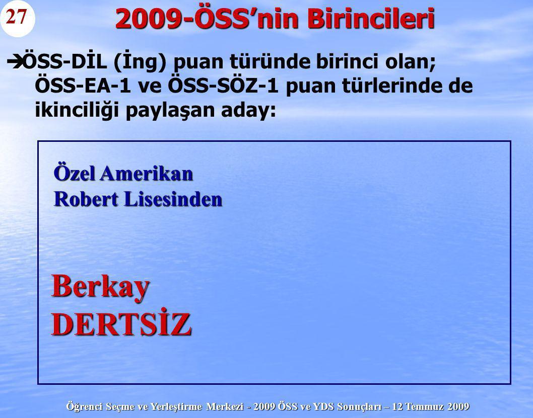Berkay DERTSİZ 2009-ÖSS'nin Birincileri 27 Özel Amerikan