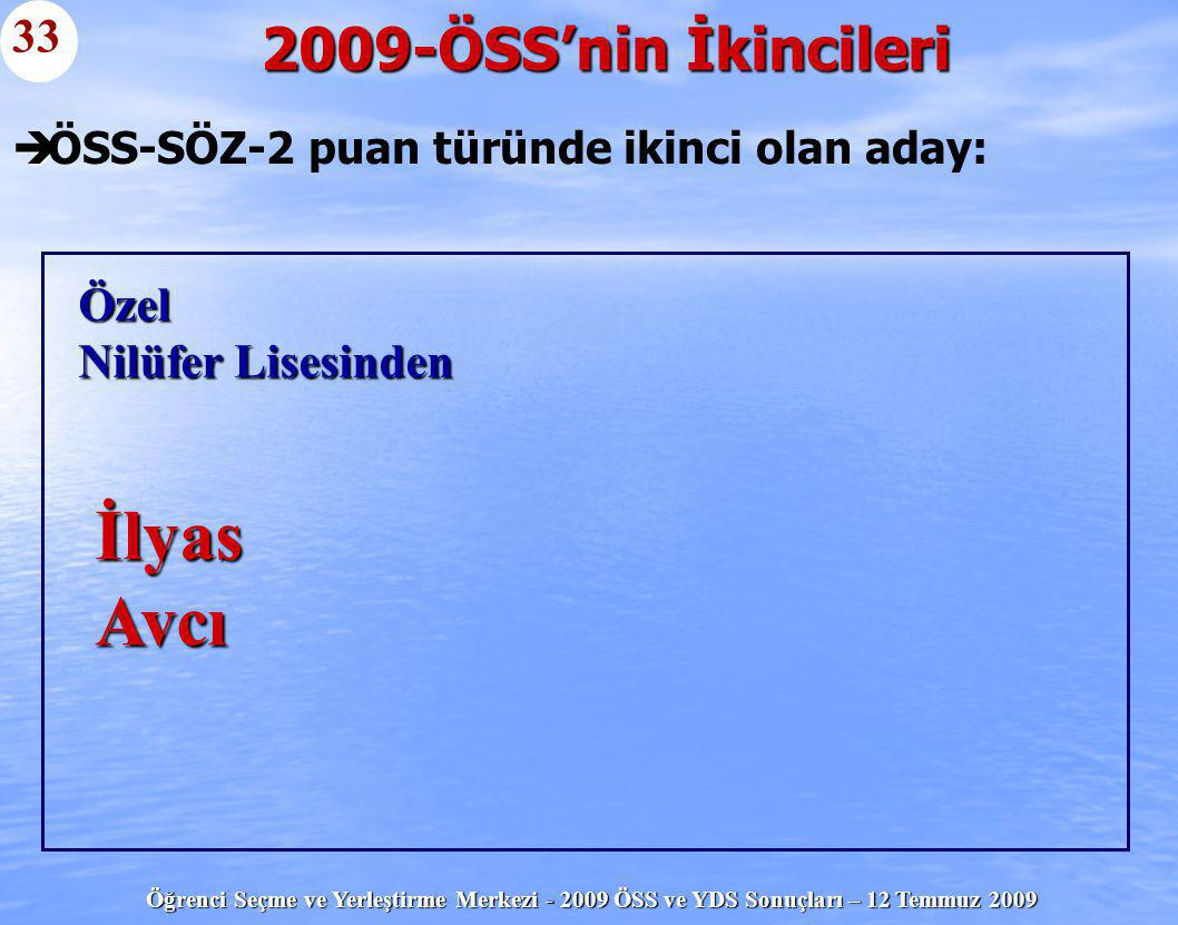 ÖSS-SÖZ-2 puan türünde ikinci olan aday: