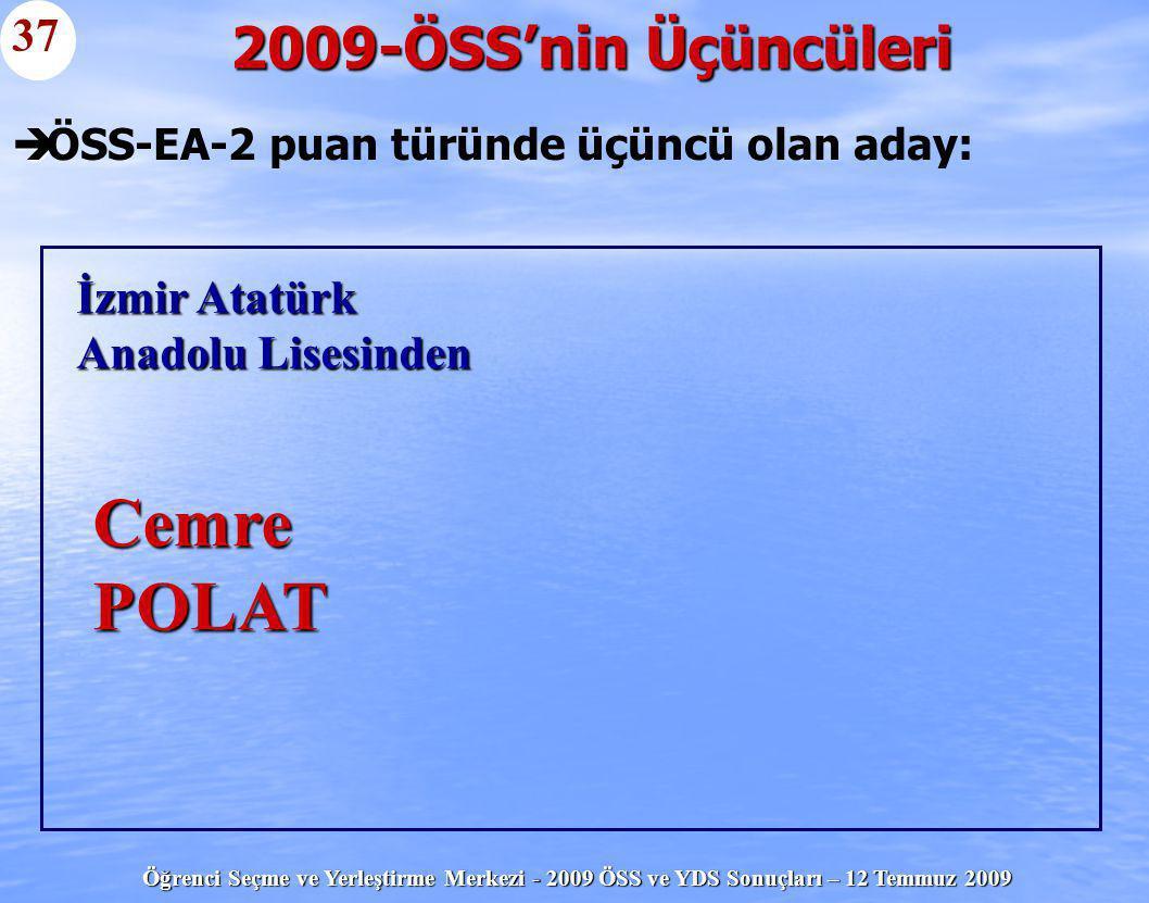 ÖSS-EA-2 puan türünde üçüncü olan aday: