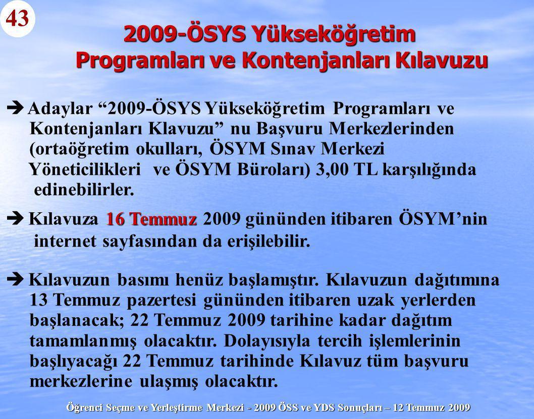 2009-ÖSYS Yükseköğretim Programları ve Kontenjanları Kılavuzu