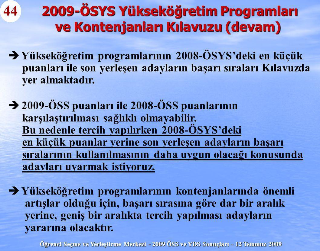 2009-ÖSYS Yükseköğretim Programları ve Kontenjanları Kılavuzu (devam)