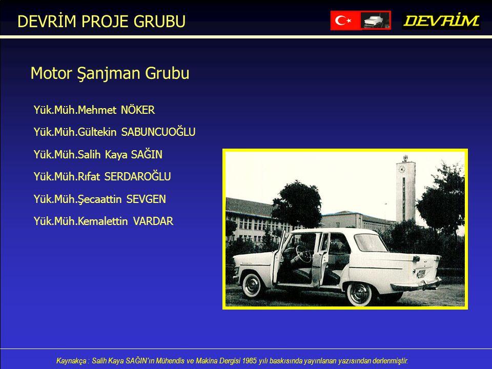 DEVRİM PROJE GRUBU Motor Şanjman Grubu Yük.Müh.Mehmet NÖKER