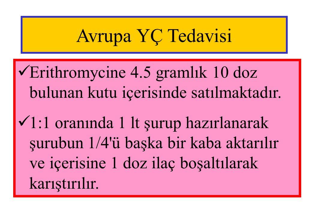 Avrupa YÇ Tedavisi Erithromycine 4.5 gramlık 10 doz bulunan kutu içerisinde satılmaktadır.