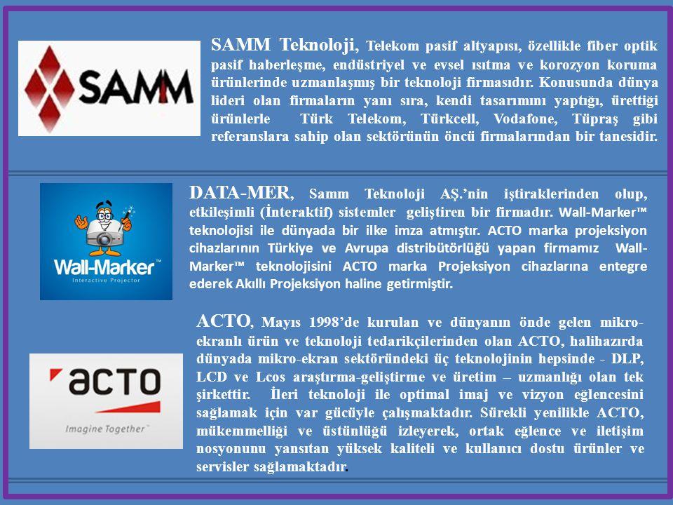 SAMM Teknoloji, Telekom pasif altyapısı, özellikle fiber optik pasif haberleşme, endüstriyel ve evsel ısıtma ve korozyon koruma ürünlerinde uzmanlaşmış bir teknoloji firmasıdır. Konusunda dünya lideri olan firmaların yanı sıra, kendi tasarımını yaptığı, ürettiği ürünlerle Türk Telekom, Türkcell, Vodafone, Tüpraş gibi referanslara sahip olan sektörünün öncü firmalarından bir tanesidir.