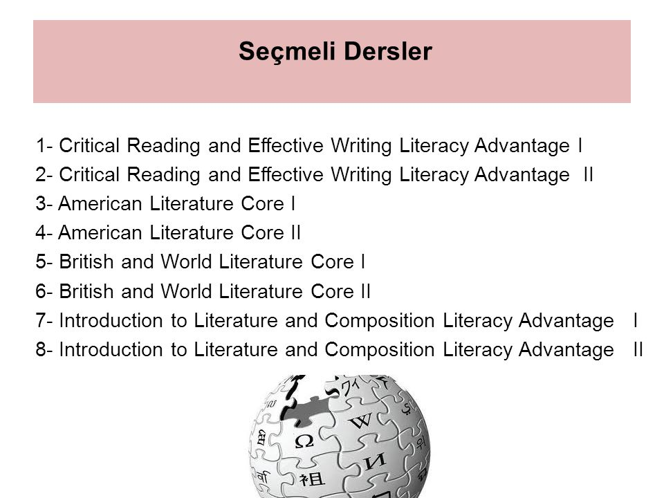 Seçmeli Dersler 1- Critical Reading and Effective Writing Literacy Advantage I. 2- Critical Reading and Effective Writing Literacy Advantage II.