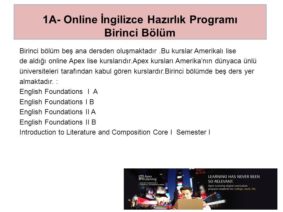 1A- Online İngilizce Hazırlık Programı Birinci Bölüm