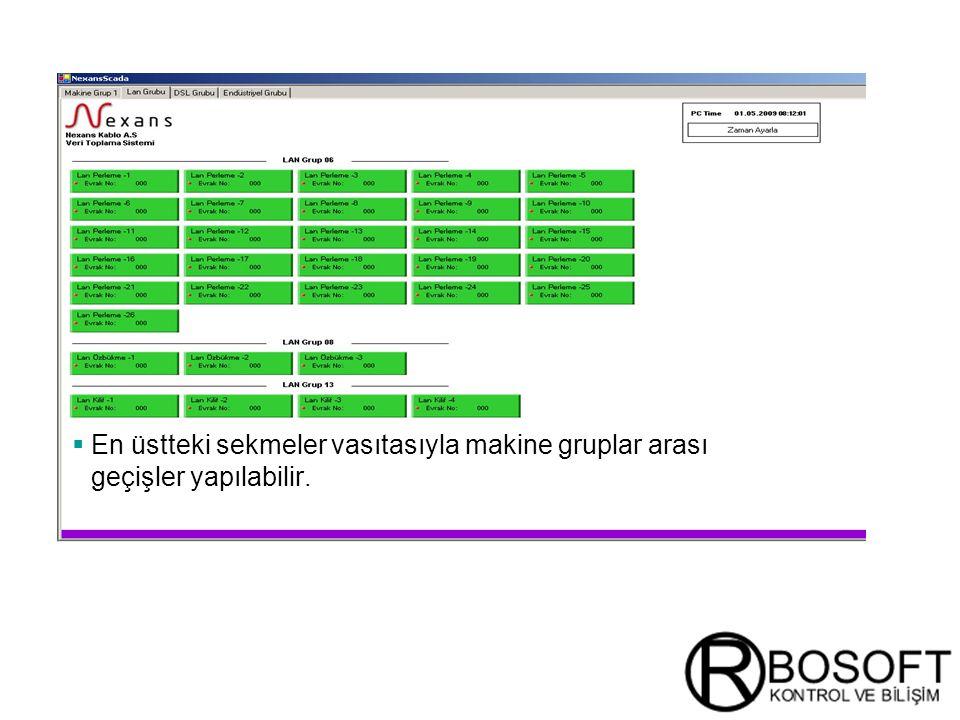 En üstteki sekmeler vasıtasıyla makine gruplar arası geçişler yapılabilir.