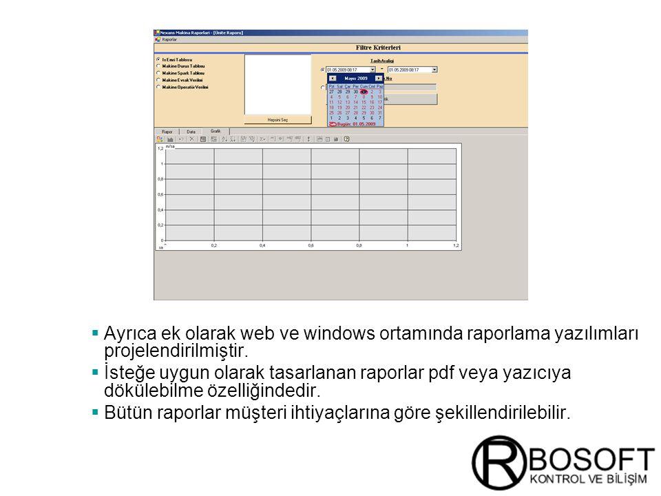 Ayrıca ek olarak web ve windows ortamında raporlama yazılımları projelendirilmiştir.