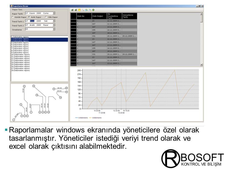 Raporlamalar windows ekranında yöneticilere özel olarak tasarlanmıştır