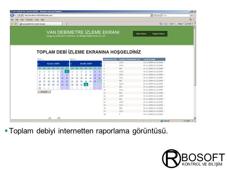 Toplam debiyi internetten raporlama görüntüsü.