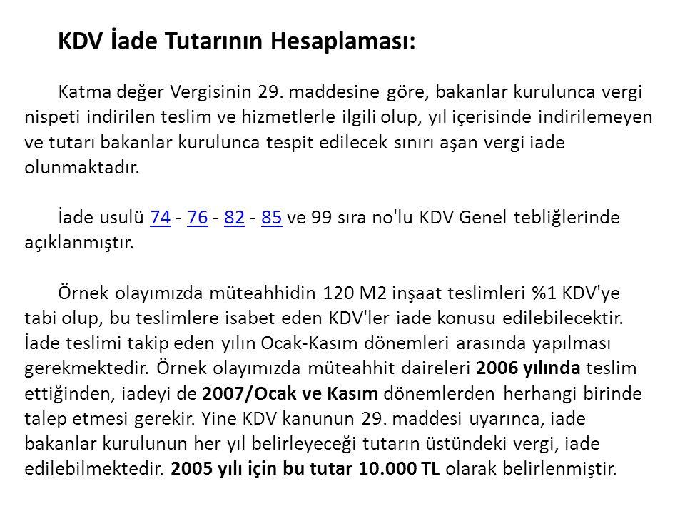 KDV İade Tutarının Hesaplaması:
