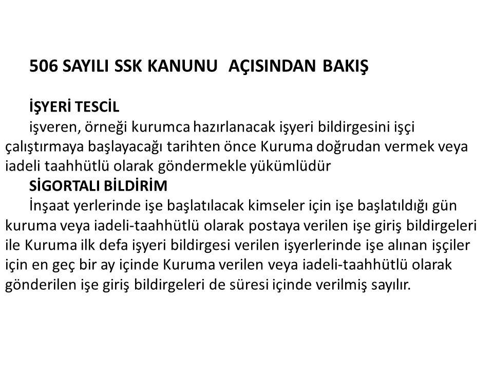 506 SAYILI SSK KANUNU AÇISINDAN BAKIŞ
