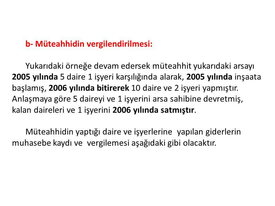 b- Müteahhidin vergilendirilmesi: